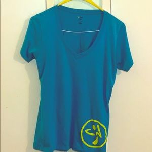 ZUMBA Wear Teal Pullover Workout  Shirt  Size XL